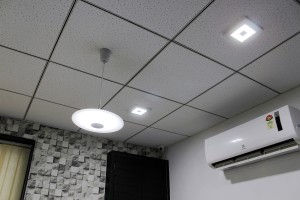 LED Hanging light and Downlights in an Office